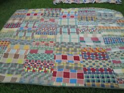 VINTAGE QUILT MADE OF SOFT FLANNEL MATERIALS 72 X 84 HAND TIED
