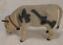 Antique Cloth Covered Spotted Cow Wind-up toyToy With Glass Eyes 6'' long Ger.