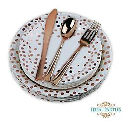 125 PCS Rose Gold Dot plates and Rose gold plastic Silverware $28.99