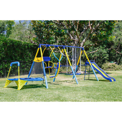 Metal Swing Set Toddler Kids Back Yard Outdoor Play Ground For 3 to 8 Year Olds