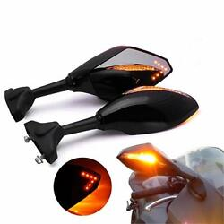 Motorcycle LED Turn Signal Integrated Mirrors For Yamaha YZF 600 YZF R1 R6 R6S A