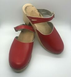 Womens Red Leather Mary Jane Style Wooden Clogs Made in Sweden Size 40