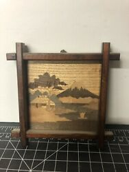 Small Vintage Or Very Old Wood Painting Of Mt Fuji Japanese Art Wooden Framed