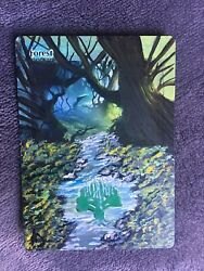 MTG ALTERED FOREST - FLOWERS   100%HAND-PAINTED Art By Angela