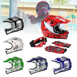 DOT Youth Kids Helmet Dirt Bike ATV Motocross Motorcycle Full Face Goggle Gloves $44.55