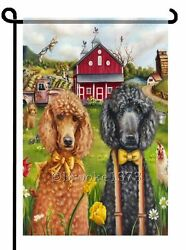 POODLES painting GARDEN FLAG black apricot red Country Dog ART print $19.99