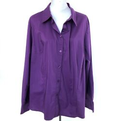 GEORGE Womens Purple Button Down Blouse 3X Long Sleeve Stretch Shirt Top Bust 54