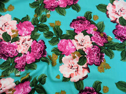 Printed Liverpool Textured Fabric 4 way Stretch Turquoise Fuchsia Floral G103 $8.99