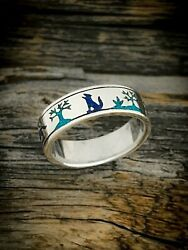 Sterling Silver Native American Wolf Scene Ring Turquoise & Lapis Lazuli inlay