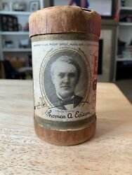 Edison Gold Moulded Record Cylinder Paper Canister Empty $11.01