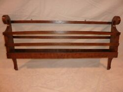 Antique Primitive Oak Country Furniture Wall Hanging Plate Rack
