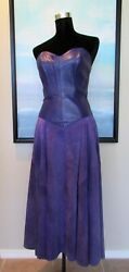 VTG North Beach Leather Michael Hoban Purple Bustier Body Con Dress Sz S