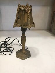 Antique Cast Metal DeskTable Lamp with Dutch Scene and Metal Shade w Silk 12