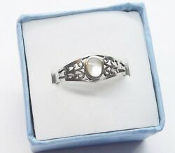 Scroll Design Bezel Set Mother of Pearl .925 Sterling Silver Ring ... R117