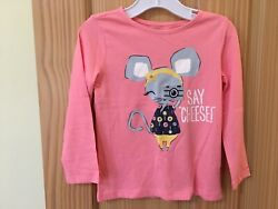 NWT Gymboree Mouse Tee Shirt Top Toddler Girls Long Sleeve Salmon Outlet $14.99