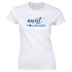 Aunt Tourage with Heart Image White T Shirt for Women Funny Auntie Shirt $13.49