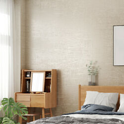 Modern Textured Wallpaper White Grey Beige Solid Wall Paper Bedroom 10m Roll $28.99