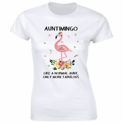 Auntimingo Like a Normal Aunt Only More Fabulous with Flamingo T Shirt for Women $13.08