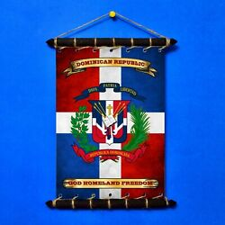 DOMINICAN REPUBLIC Flag Motto: SET 5in1 Banner Sticker Pennant Postcard Magnet