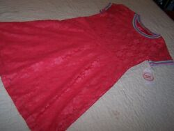 L 10 12 Plus Summer Lace Dress Retro Pink Fully Lined Wonder Nation NWT A13 $4.66