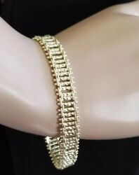 Stunning Gold Tone Diamond Cut Tennis Bracelet Link Chain 7.75 Inch Etched