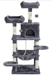 59quot; Cat Tree Tower Condo Cat Scratching Post with Hammock Cat Play Center $75.99