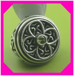 BRIGHTON GOTHICA GREEN Crystal 925 Sterling Silver Band RING Size 5  NWtag $88