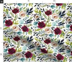 Watercolor Floral Floral Illustration Floral Fabric Printed by Spoonflower BTY