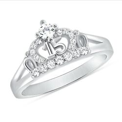 925 Sterling Silver Sweet 15 Quinceanera Crown Cz Ring White Gold Plated