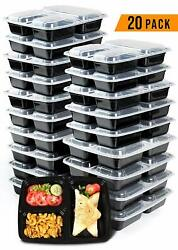 Meal Prep Containers 20 Pack 3 Compartment with Lids 36 Oz Keto Box BPA Free
