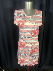 Chanel cotton mix stretch AWESOME flower print colorful summer dress 38 S to M $350.00