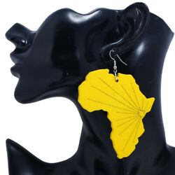 Africa Map Earrings Painted Wood Earrings Female Color Oversized Jewelry