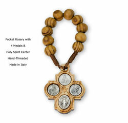 4-Medal Wood Pocket Rosary Cross Made in Italy 4 Medals on Either Side $16.99