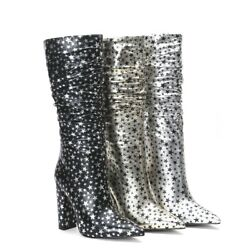 New Women Pointy Toe Star Knee High Boots Sexy Block Heels Fashion Shoes Size $78.29