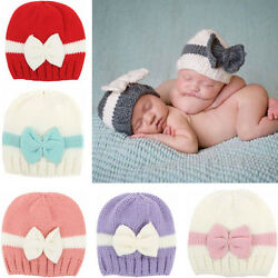 Newborn Baby Girl Boy Infant Toddler Bow Knit Crochet Hat Winter Beanie Cap AE