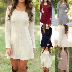 Women Cable Knitted Sweater Dress Long Sleeve Sweatshirt Blouse Tunic Mini Dress