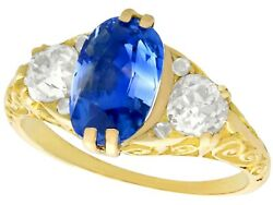 Victorian 3.11 Ct Sapphire and 0.90 Ct Diamond 18k Yellow Gold Trilogy Ring