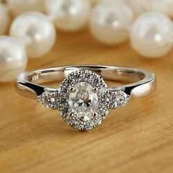 Engagement Wedding Halo Oval Set Ring 2 Ct Oval Cut Diamond 14K White Gold Over