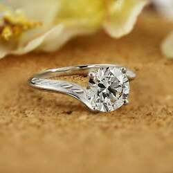 Engagement Criss Cross Bypass Ring 925 Sterling Silver 2.55 Ct Round Cut Diamond