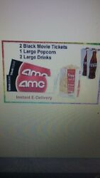 AMC 2 Black Movie Tickets 1 Large Popcorn 2 Large Drink  fast email  delivery.