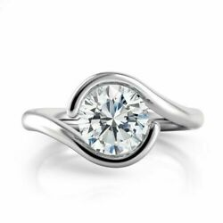 Engagement Criss Cross Tension Ring 2.34 Ct Round Diamond 14Kt White Gold Finish