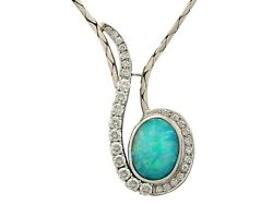 Vintage 3.84ct Opal and 1.86ct Diamond 18k White Gold Necklace