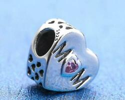 Authentic Pandora 🌺 silver bead Charm mother pink heart love mom #791881pcz