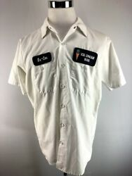 Novelty Halloween Ex Con Ice Cream Man Front Button Shirt Adult Large $12.95