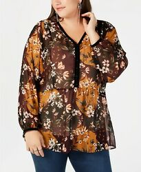 Style & Co - Printed Sheer Blouse - Plus - 0X