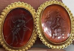 Greek mythology  agate cameo IEarrings and Necklace in 21 karat gold
