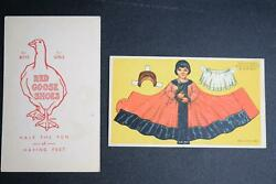 Antique Red Goose Shoes Premium Toy Cardboard Paper Doll Advertising Ad
