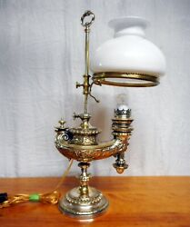 Antique Silver Plated Harvard Style Student Desk Lamp Aladdin