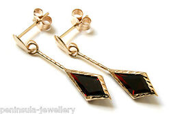 9ct Gold Garnet Red CZ Drop Dangly Earrings Gift Boxed Christmas Gift Made in UK