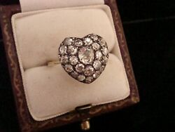 EDWARDIAN 18CT YELLOW GOLD OLD CUT DIAMOND HEART RING 1.80CT